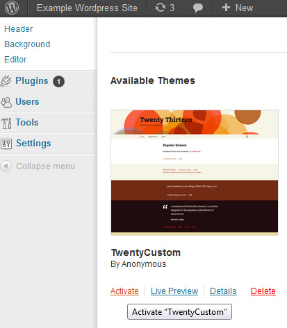 activate duplicated wordpress theme