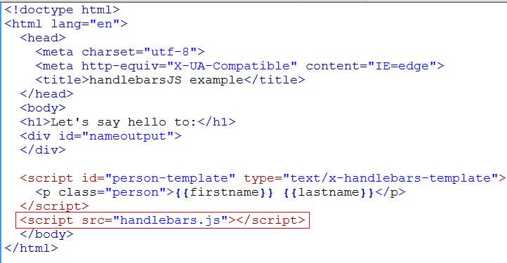 handlebarsjs script tag
