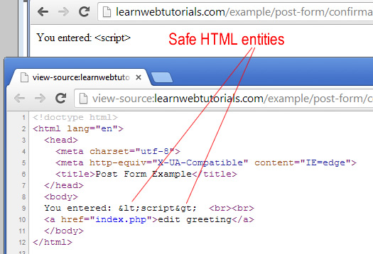 safe html entities