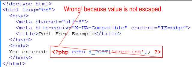 wrong way to submit echo form values