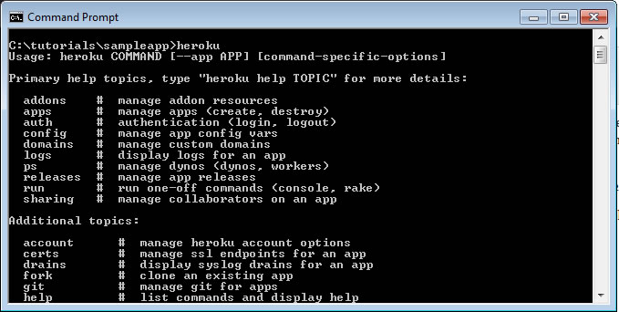 heroku command prompt