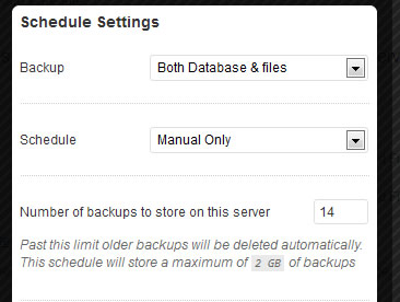 backup database and files