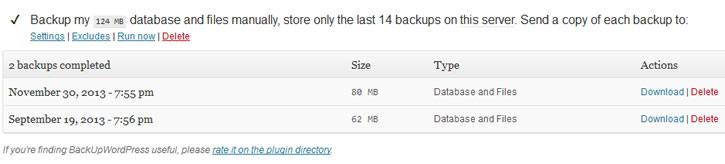 backup wordpress interface
