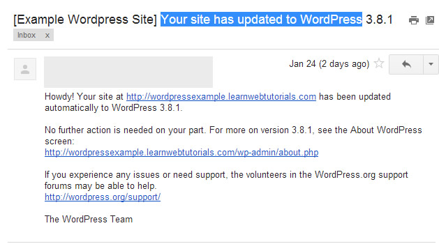 wordpress upgrade email
