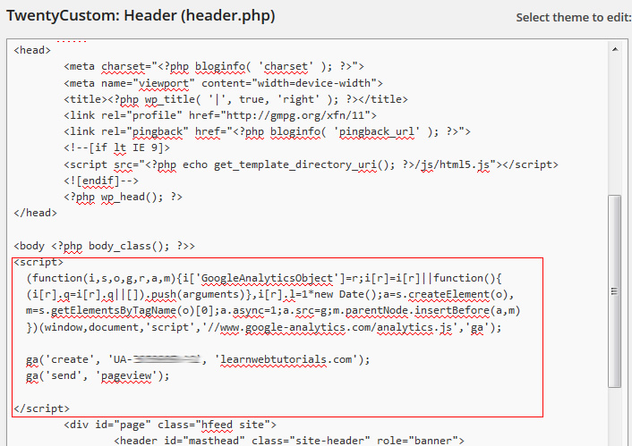 Google Analytics Code in Header