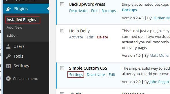 simple custom css settings