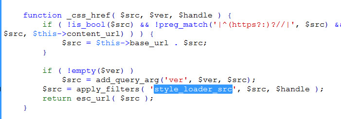 apply_filters on style_loader_src