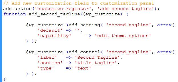 code to customize theme option