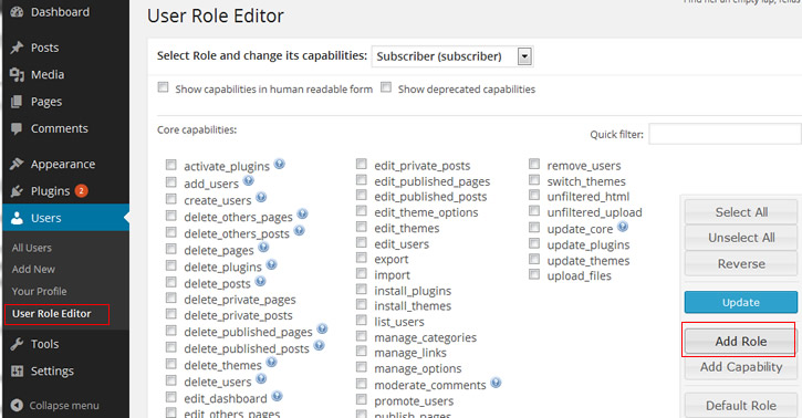 create custom role using user role editor