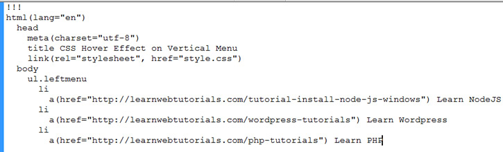 Jade Example Code Showing Some Jade Syntax | Learn Web Tutorials