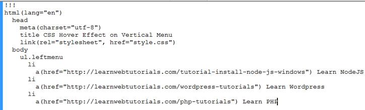jade example code