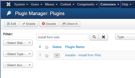 Joomla install from web plugin