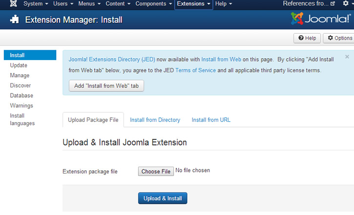 Joomla! install-from-web message