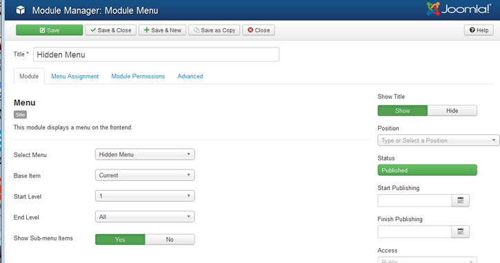 menu module setting