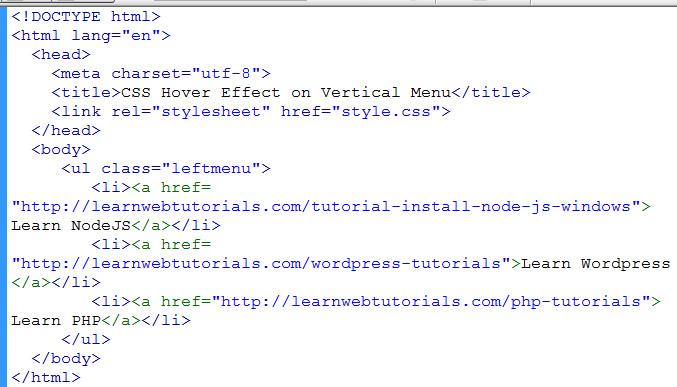 menu list in html
