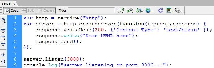 nodejs simple web server