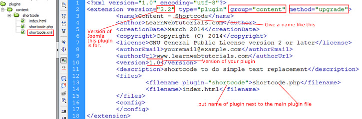 xml file for the plugin