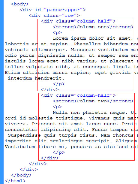 html structure for two columns