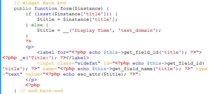 widget backend code
