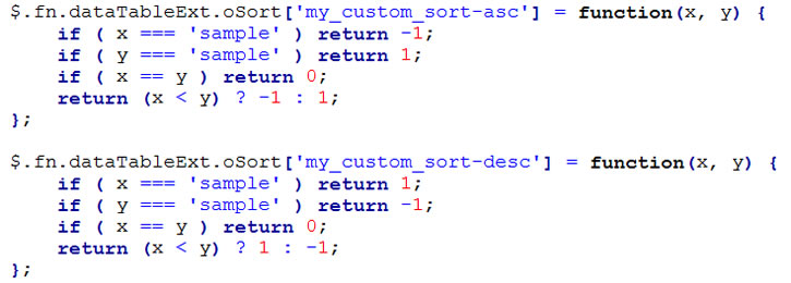 custom sort function