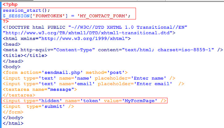 contact form HTML