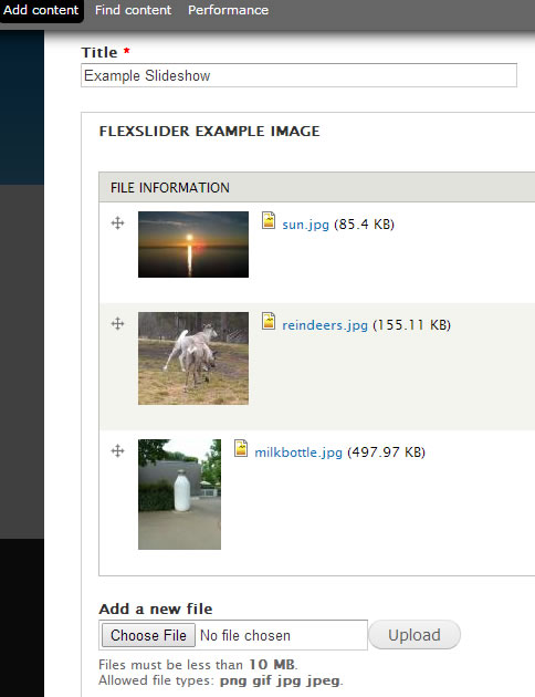 uploaded three FlexSlider images