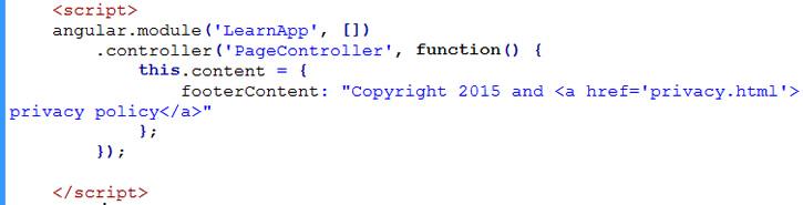 Using AngularJS $sce trustAsHtml to display raw HTML to page | Learn
