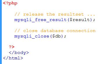 close database