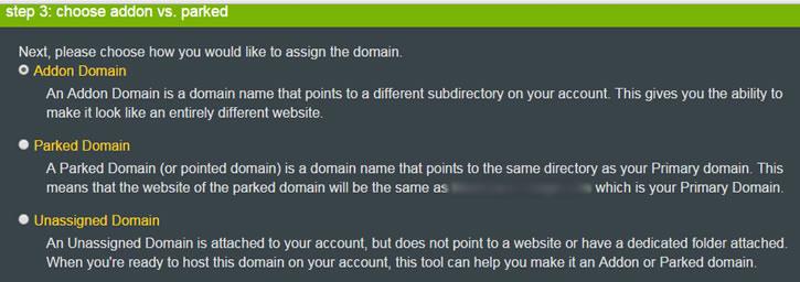 choose add-on domain