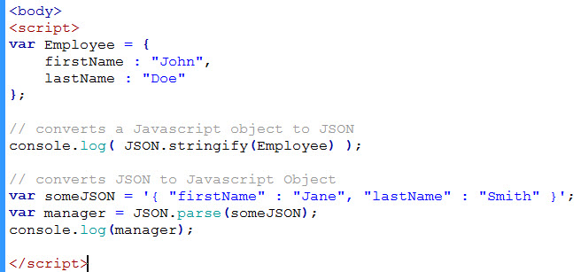 converting between JSON and javascript object