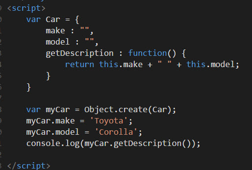 prototypical inheritance using Object create