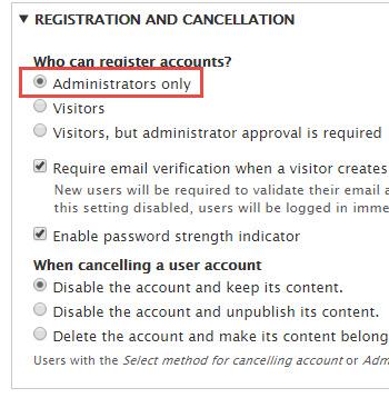 Disable registration