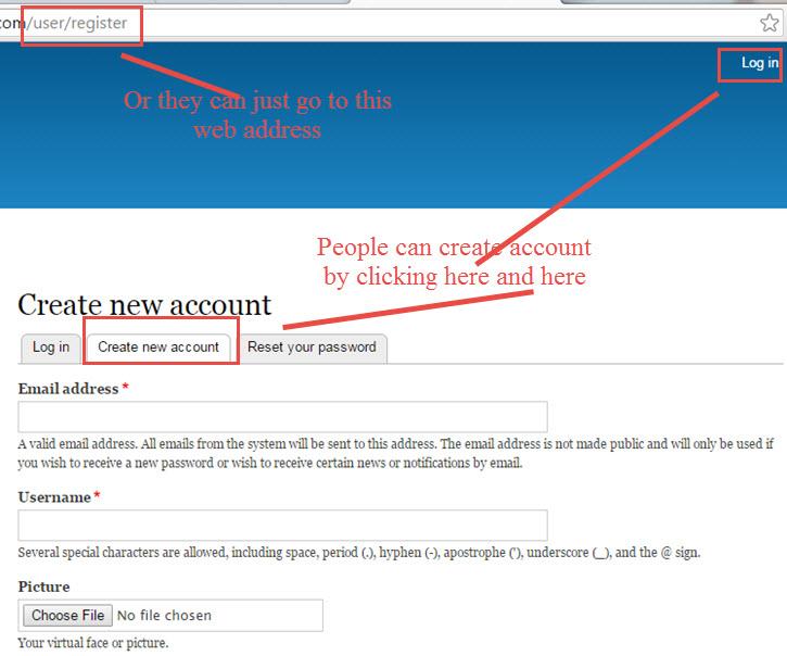 Drupal Register account