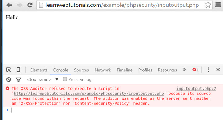 XSS prevented by Chrome