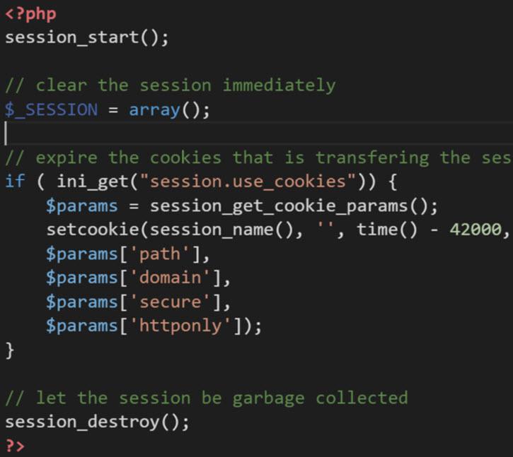 Logout code