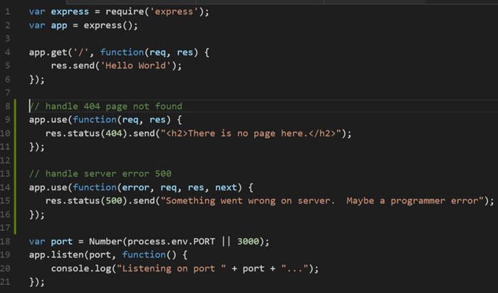 custom error handling