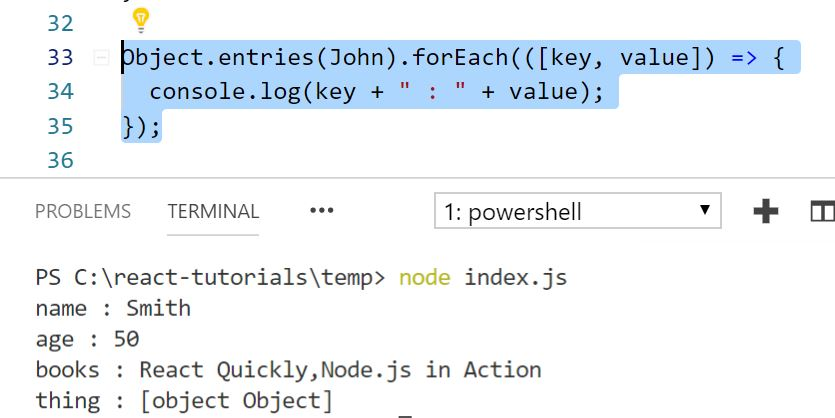 Javascript Tutorial looping through all properties of object