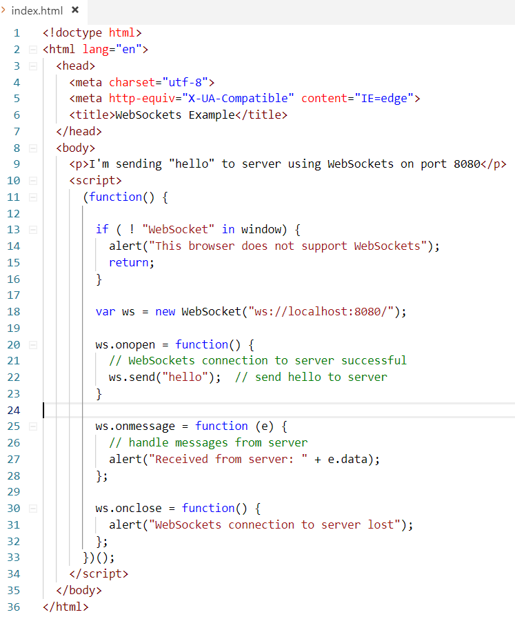 Server and Client side example of WebSockets using Node